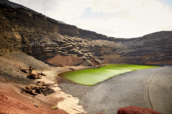 Green volcanic lake Charco de los Clicos at Lanzarote - Stock Photo - Images