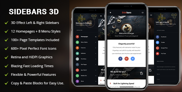 SideBars 3D Mobile | Mobile Template - Mobile Site Templates