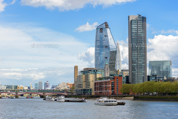 Panorama of south bank of the Thames River in London - Stock Photo - Images