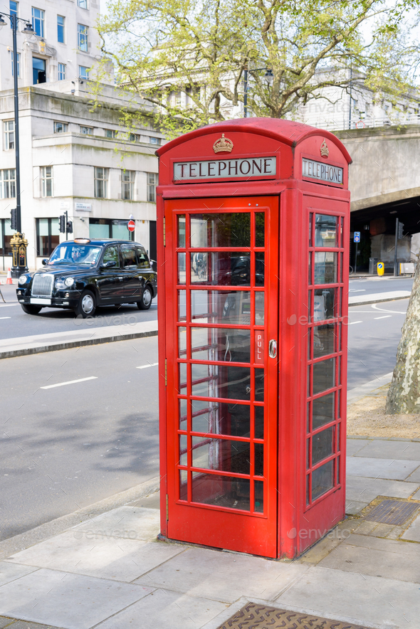 Traditional british red telephone booth - Stock Photo - Images