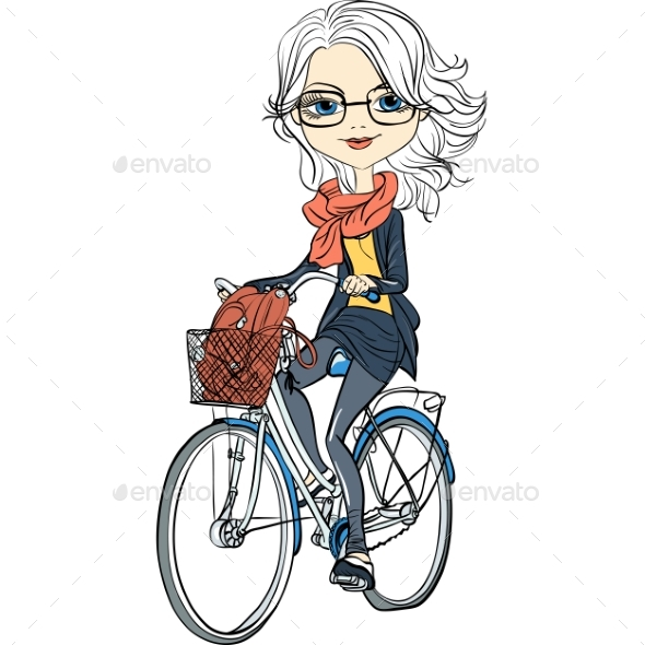 Vector Girl Rides a Bicycle - People Characters