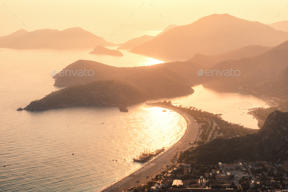 Amazing view from the mountain peak on Oludeniz, Turkey - Stock Photo - Images