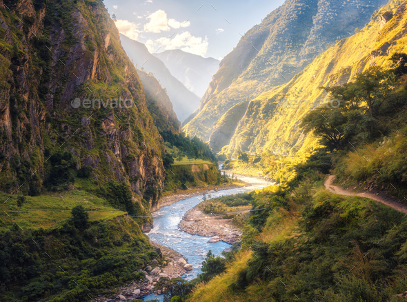 Summer landscape with mountains, river at sunset - Stock Photo - Images