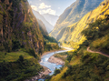 Summer landscape with mountains, river at sunset - PhotoDune Item for Sale