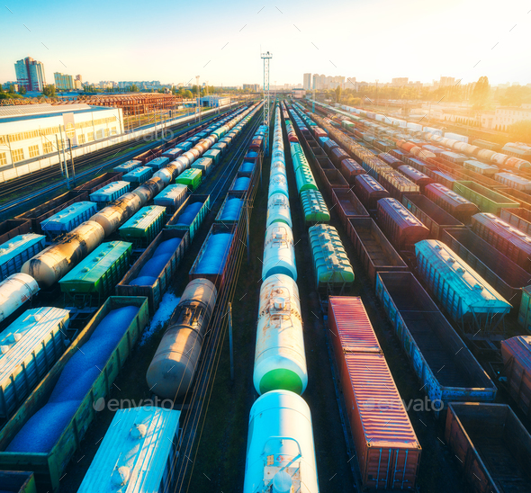 Aerial view of colorful freight trains on railroad - Stock Photo - Images