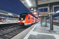 Passenger high speed train on the railway station at night in Europe - PhotoDune Item for Sale