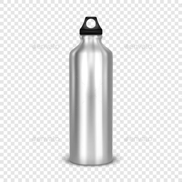 Vector Realistic Empty Glossy Metal Water - Man-made Objects Objects