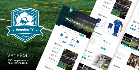 Vensica FC - Football Club  Creative PSD Template - Creative PSD Templates