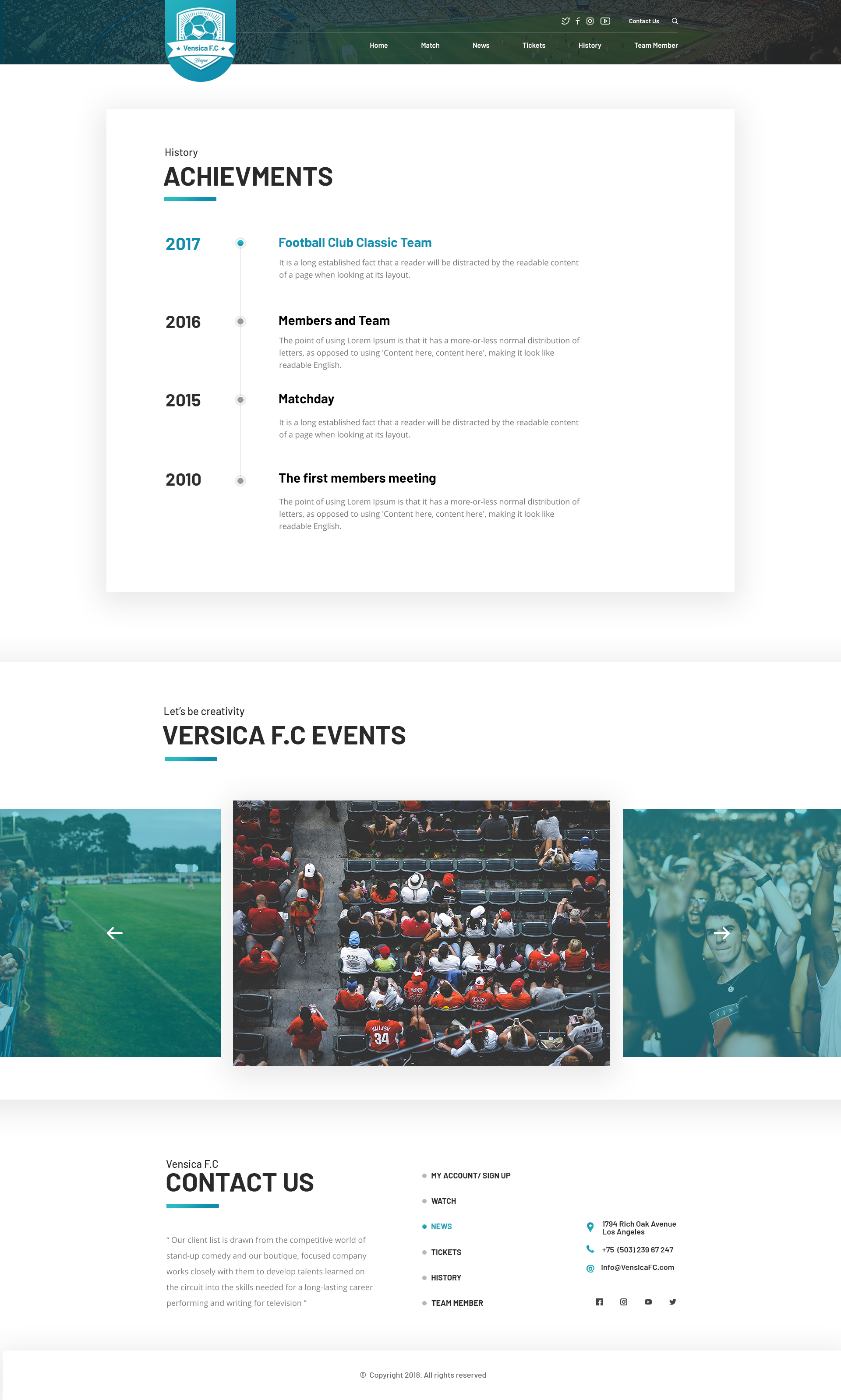 Vensica Fc Football Club Creative Psd Template By Themeton