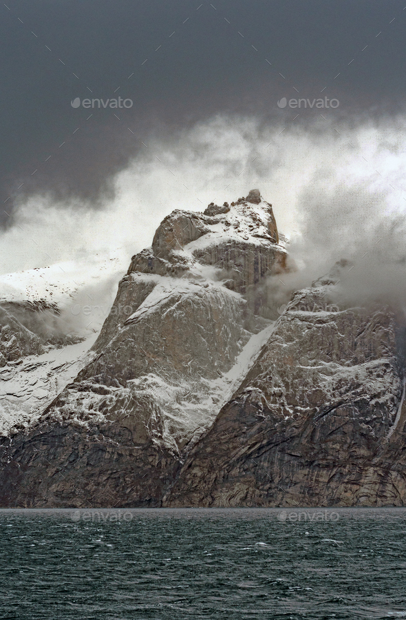 Dramatic Mountain Framed by Clouds - Stock Photo - Images
