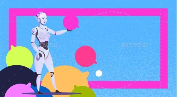 Chat Bot Using Bubbles, Robot Virtual Assistance - Technology Conceptual