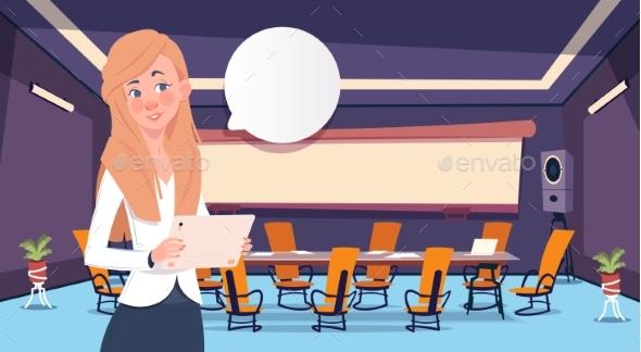 Businesswoman Holding Tablet Bubble Concept - Business Conceptual