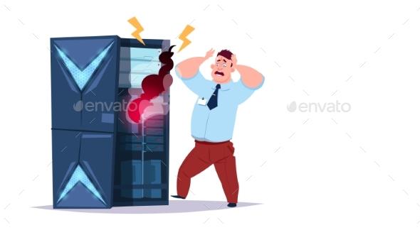 Data Storage Problem Center with Hosting Servers - Technology Conceptual