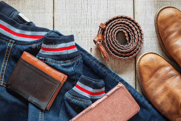 Denim and accessories on wooden - Stock Photo - Images