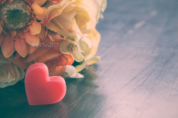 Heart with flowers of vintage - Stock Photo - Images