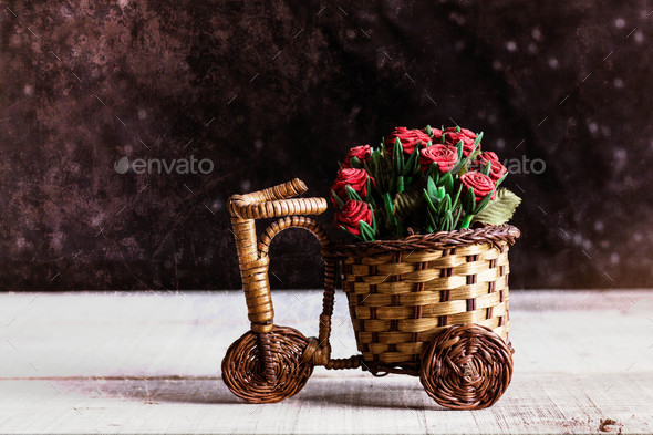 Potted roses on bike - Stock Photo - Images