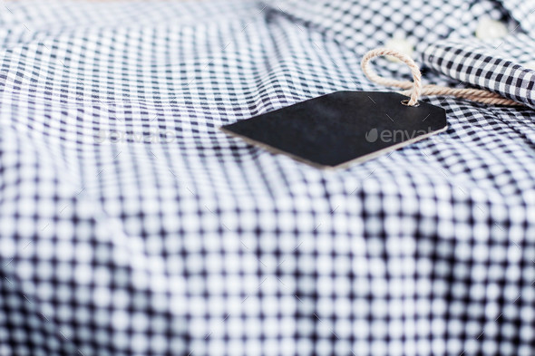 Black label on shirt - Stock Photo - Images
