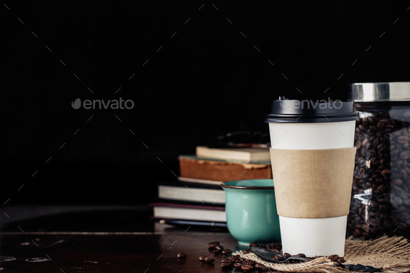 Coffee cups on wooden - Stock Photo - Images
