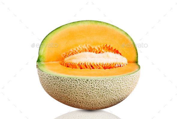 Melon cut on white background - Stock Photo - Images