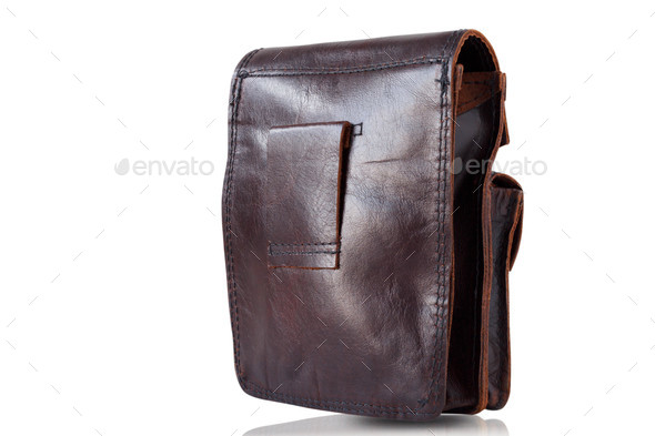 The back of a leather purse - Stock Photo - Images