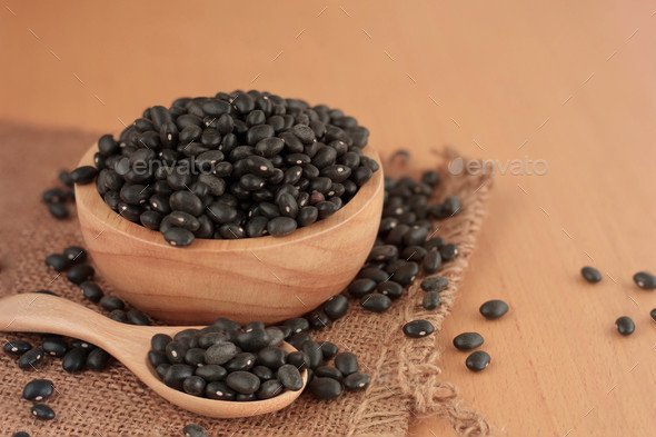 Black bean on wooden - Stock Photo - Images
