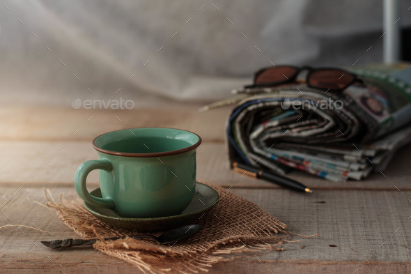 Cups on old wooden - Stock Photo - Images