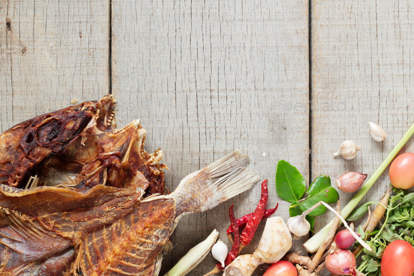 fish and curry on wooden - Stock Photo - Images