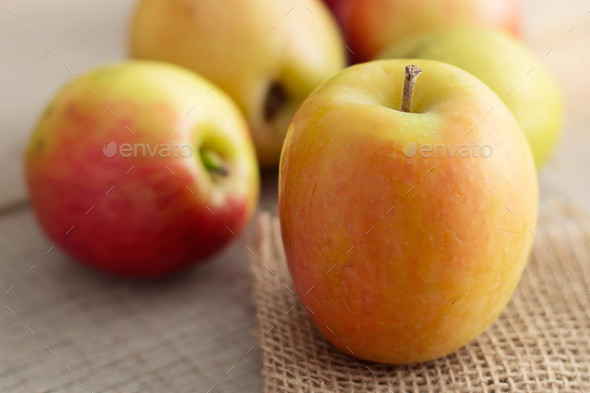 Fresh apples on wooden - Stock Photo - Images