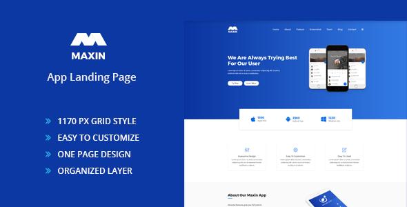 Maxin - App Landing Page PSD Template - PSD Templates