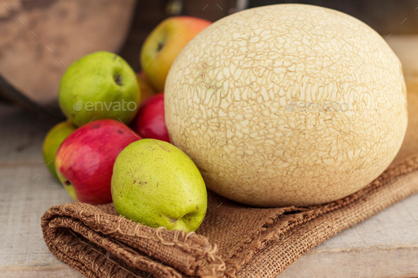 Melon on wooden - Stock Photo - Images