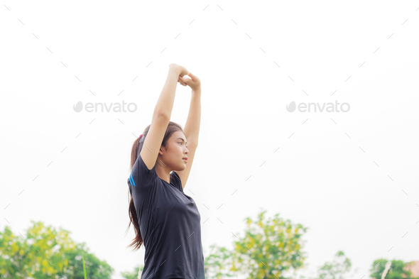 Girl is warming with sky - Stock Photo - Images
