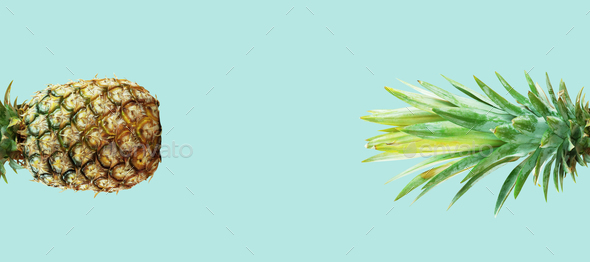 Pineapple with green background - Stock Photo - Images