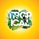 Vector Tropical Holiday Typographic Illustration