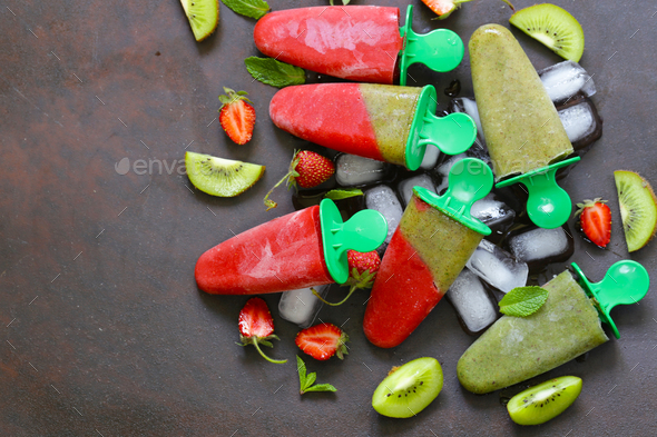 Homemade Fruit Ice Cream - Stock Photo - Images