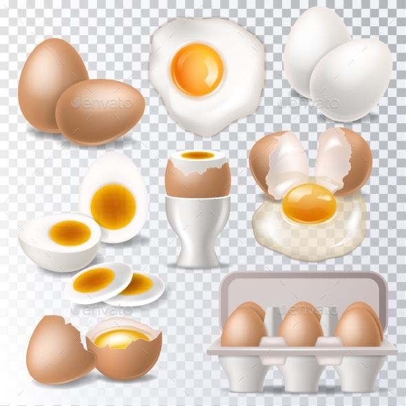 Egg Vector Healthy Food Eggwhite or Yolk in Egg - Food Objects