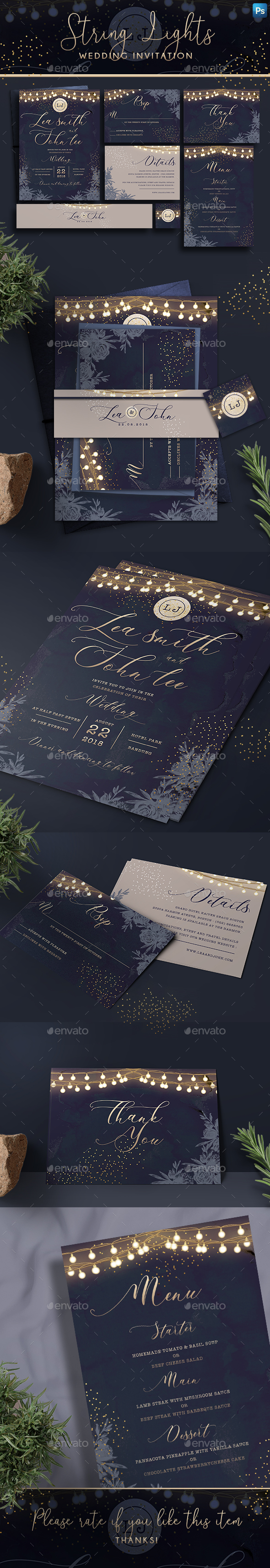 String Lights Invitation - Weddings Cards & Invites