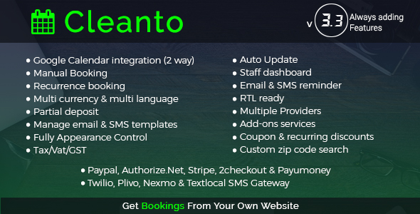 Cleanto - Online Bookings for Cleaning Businesses - CodeCanyon Item for Sale