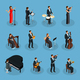 Isometric People In Orchestra Collection
