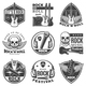 Vintage Monochrome Rock Music Labels Set