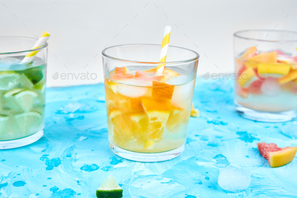 Healthy Detox citrus water or lemonade. - Stock Photo - Images