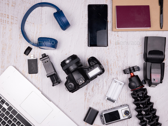 Flat lay top view of traveler accessories - Stock Photo - Images