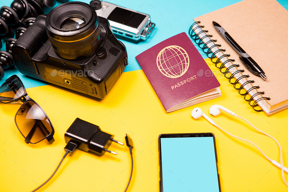 Summer photographer kit who loves to travel - Stock Photo - Images