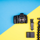 Flat lay top view of camera with accessories - PhotoDune Item for Sale