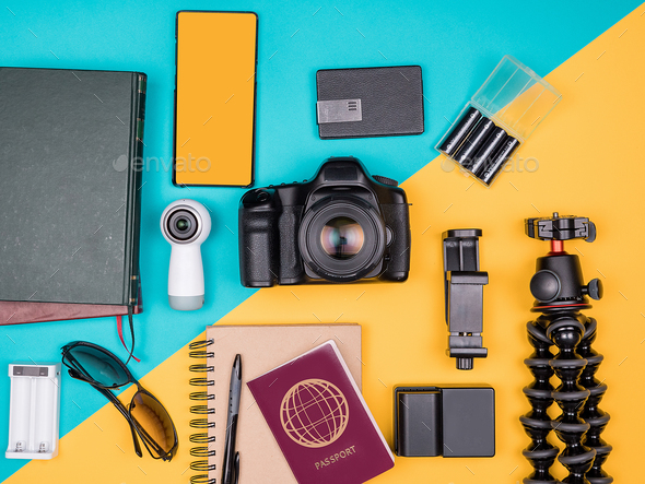 Traveller blogger kit for summer vacation - Stock Photo - Images
