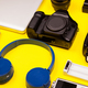 Flatlay on yellow background of travel - PhotoDune Item for Sale