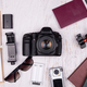 Flat lay top view of traveler accessories - PhotoDune Item for Sale