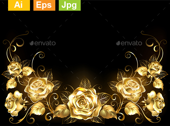 Black Background with Gold Roses - Flourishes / Swirls Decorative