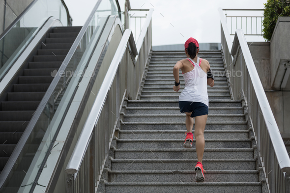 Running upstairs - Stock Photo - Images