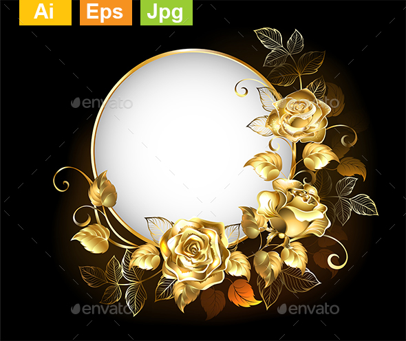 Round Banner with Gold Roses - Borders Decorative