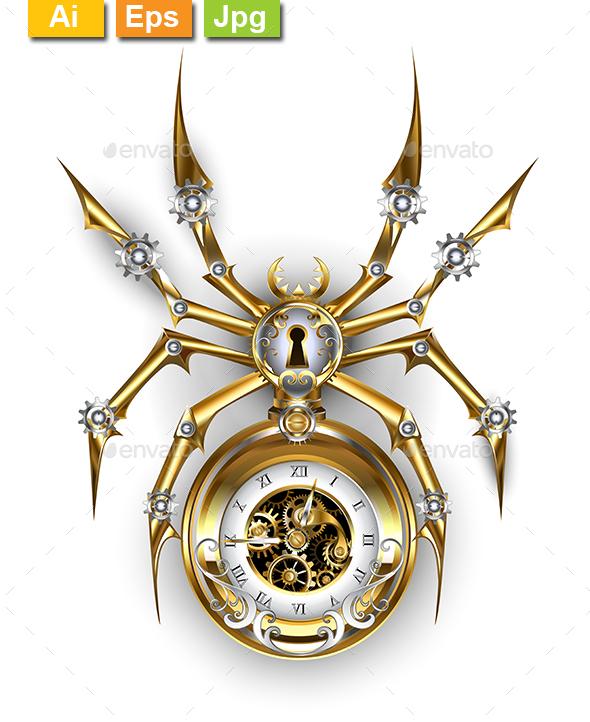 Spider with Clock - Decorative Symbols Decorative